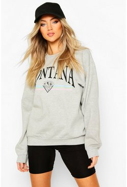 Grey Montana Slogan Extreme Oversized Sweat