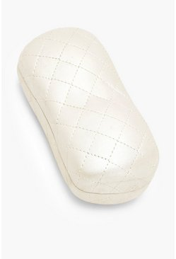 Cream Quilted Hard Sunglasses Case