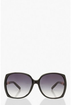 Black Oversized Speckled Chain Detail Sunglasses