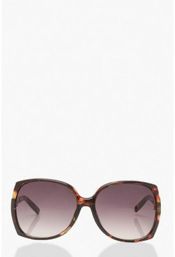 Brown Oversized Speckled Chain Detail Sunglasses