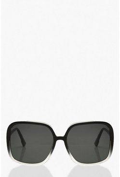 Black Gradient Frame Oversized Sunglasses