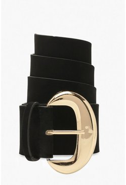Black Velvet Waist Belt With Buckle