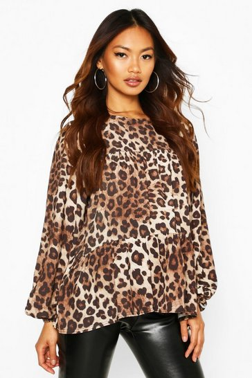 Womens Natural Woven Leopard Ruffle Smock Top