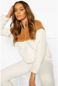 Camel Colour Block Faux Teddy Zip Sweat