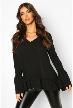 Black Woven Ruffle Sleeve V Front Tunic Top