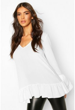 Ivory Woven Ruffle Sleeve V Front Tunic Top