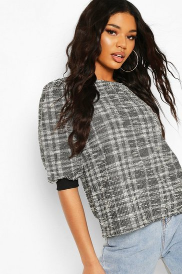 Grey Jaquard Boucle Top
