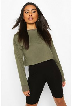 Khaki Cotton Long Sleeve Cropped Top