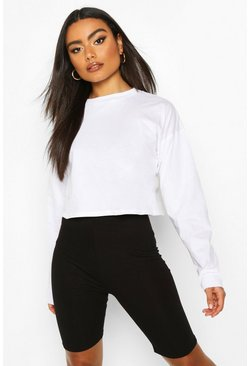 White Cotton Long Sleeve Cropped Top