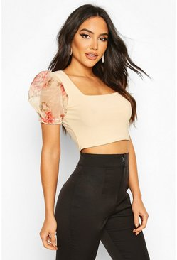 Womens Nude Floral Organza Square Neck Crop