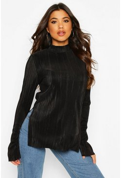 Black Plisse High Neck Split Side Tunic Top