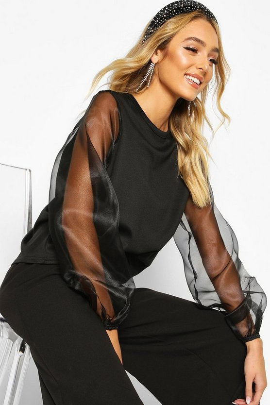 Black Organza Sleeve Sweatshirt