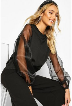 Womens Black Organza Sleeve Sweatshirt
