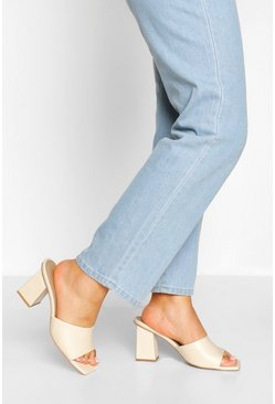 Cream Wide Fit Square Toe Mules