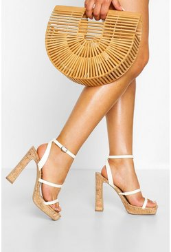 White Wide Fit Cork Triple Strap Platforms