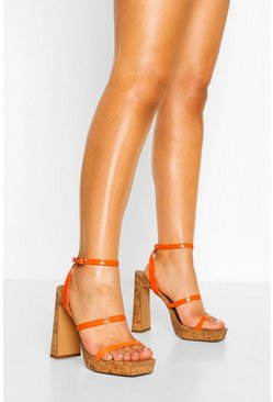 Orange Wide Fit Cork Triple Strap Platforms