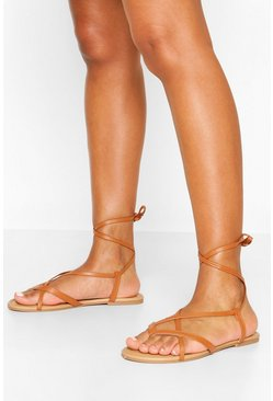 Tan Wide Fit Strappy Basic Sandals