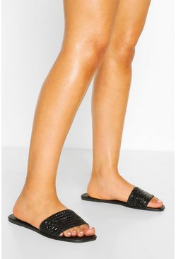 Black Wide Fit Embellished Sliders