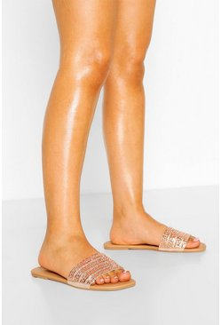 Rose gold Wide Fit Embellished Sliders