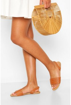 Tan Wide Width Woven Sling Back Sandals