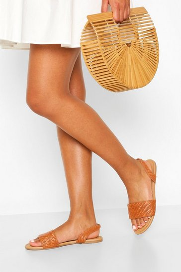 Tan Wide Fit Woven Sling Back Sandals