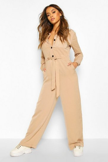 Beige Contrast Stitch Woven Tailored Jumpsuit