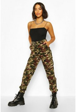 Chocolate Camo Cotton Twill Cargo Pants