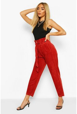 Wine Paperbag Belted Cord Trousers