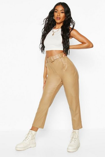Beige Self Fabric Belted Leather Look Trousers