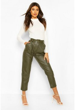 Khaki Self Fabric Belted Leather Look Trousers