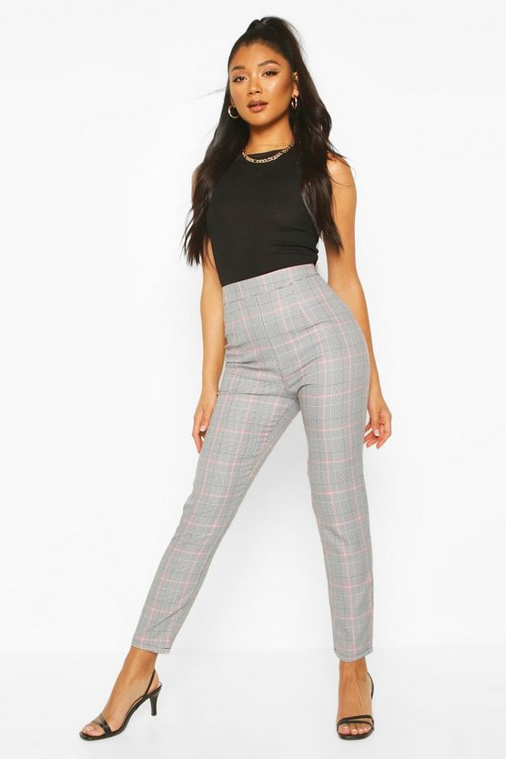 Baby pink Pastel Dogtooth Check Slim Fit Pants