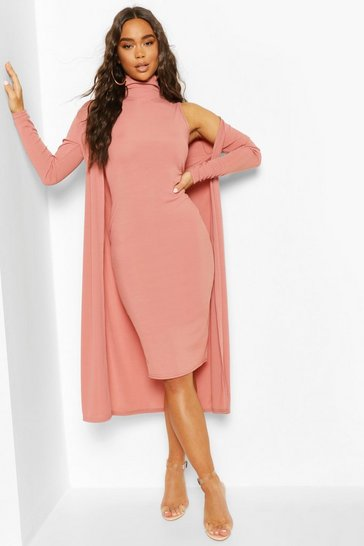 Rose Rib Funnel Neck Midi Dress And Duster