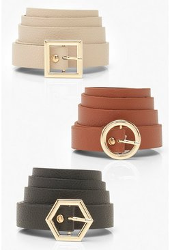 3 Pack Multi-Buckle Croc Skinny Belt