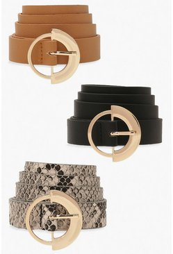 Multi 3 Pack Ring Detail Buckle Belt