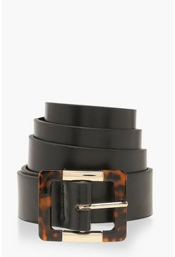 Black Tortoise Shell Buckle Belt