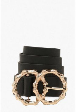 Black Bamboo Effect Double Ring Buckle Belt