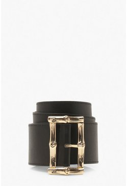 Black Bamboo Effect Buckle Waist Belt