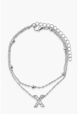 Silver Pendant Layered Anklet