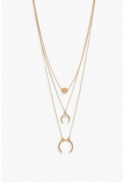 Collier multi-rangs lune, Or
