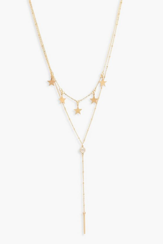 Gold Layered Star & Plunge Necklace
