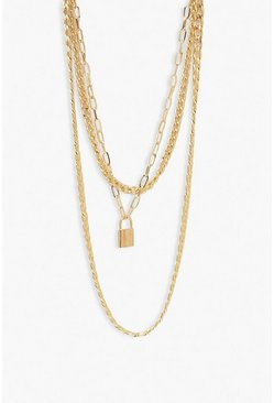 Gold Chain & Lock Layered Necklace