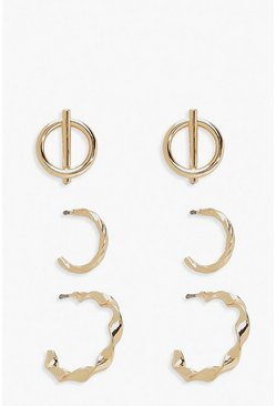 Gold Textured Hoop & Circle Stud Earring 3 Pack
