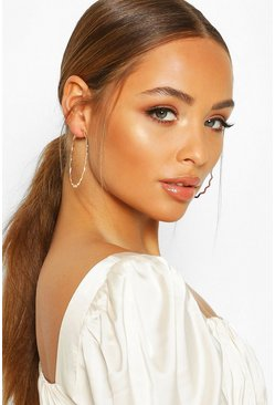 Gold Jagged Edge Hoop Earrings
