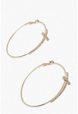 Gold Diamante Cross Detail Hoop Earring