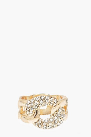 Gold Chain Link Detail Chunky Ring