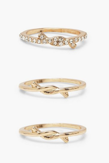 Gold Twist Detail Ring 3 Pack