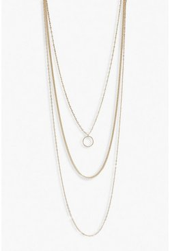 Collier multi-rangs à cercle simple, Or