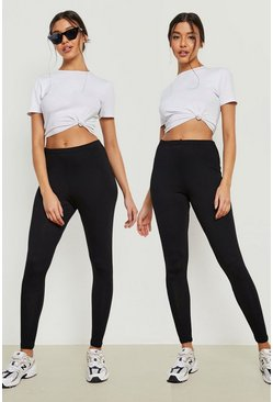 Black 2 Pack Core Basic Jersey Leggings