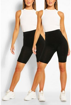 Black 2 Pack Basic Jersey Cycling Shorts
