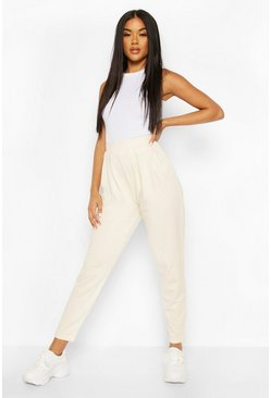 Womens Ecru Pleated Jogger